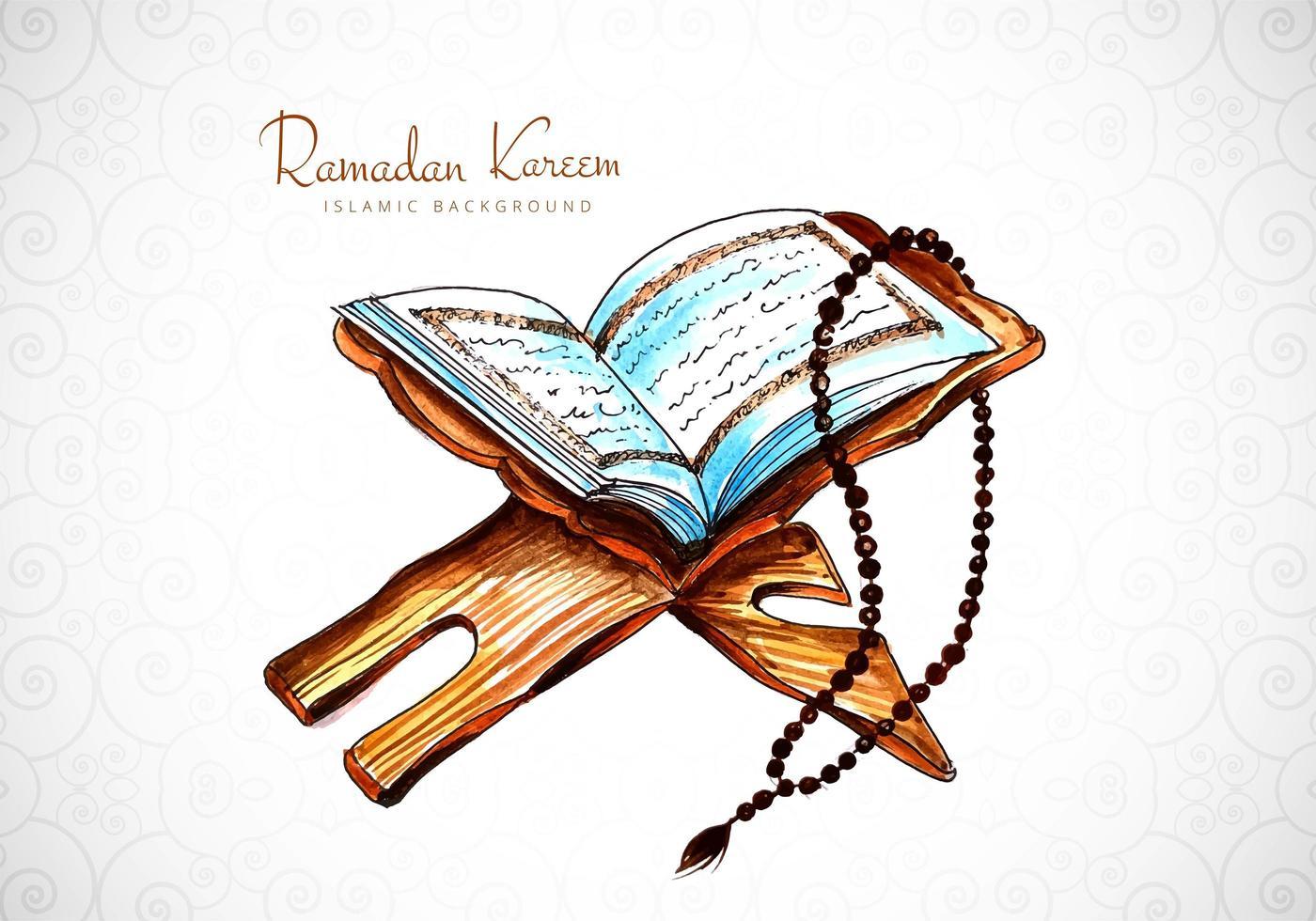 Ramadan Kareem Greeting with Watercolor Book Design  vector