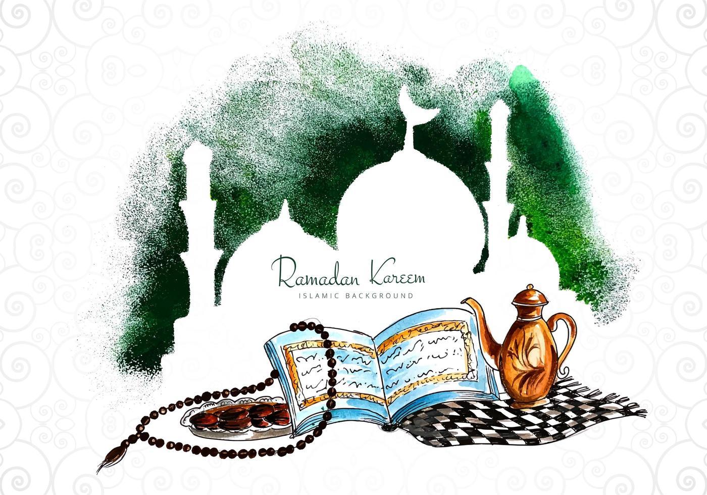 Fondo de mezquita de vacaciones de Ramadán Kareem vector