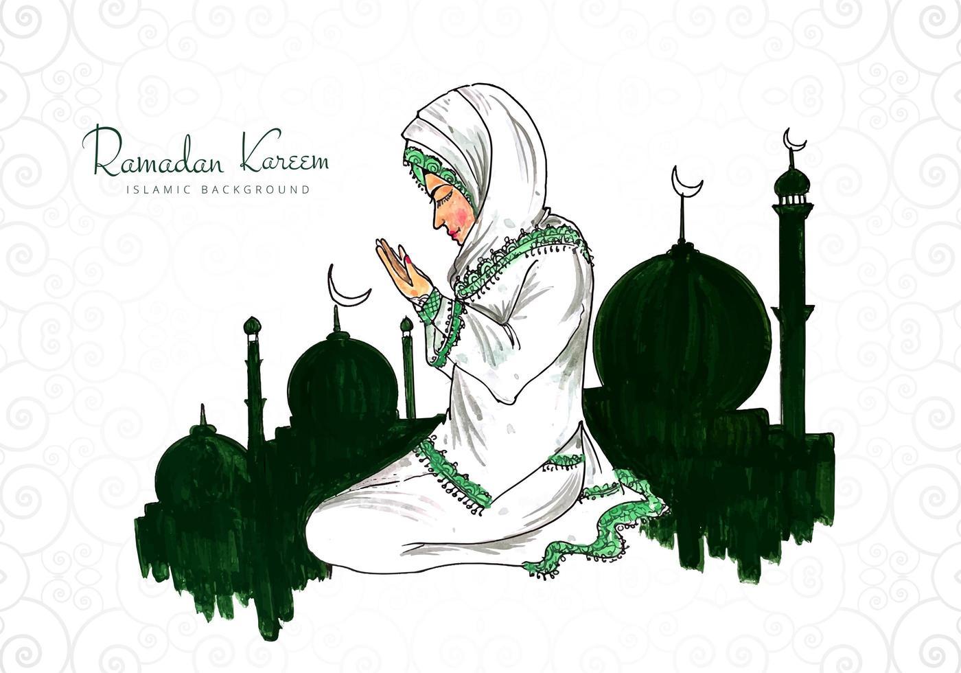 Ramadan Kareem Greeting with Woman Praying  vector