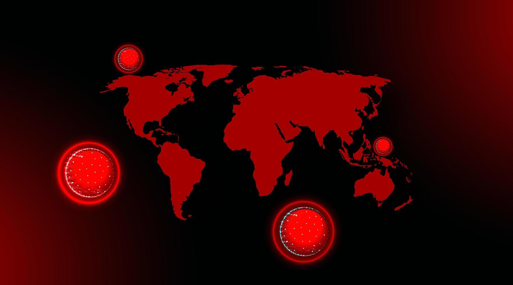 mapa de virus respiratorio rojo 2019-ncov vector