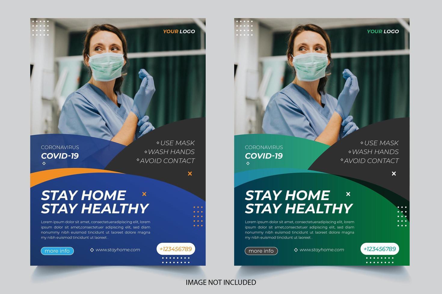 set di volantini coronavirus blu e verde sfumato vettore