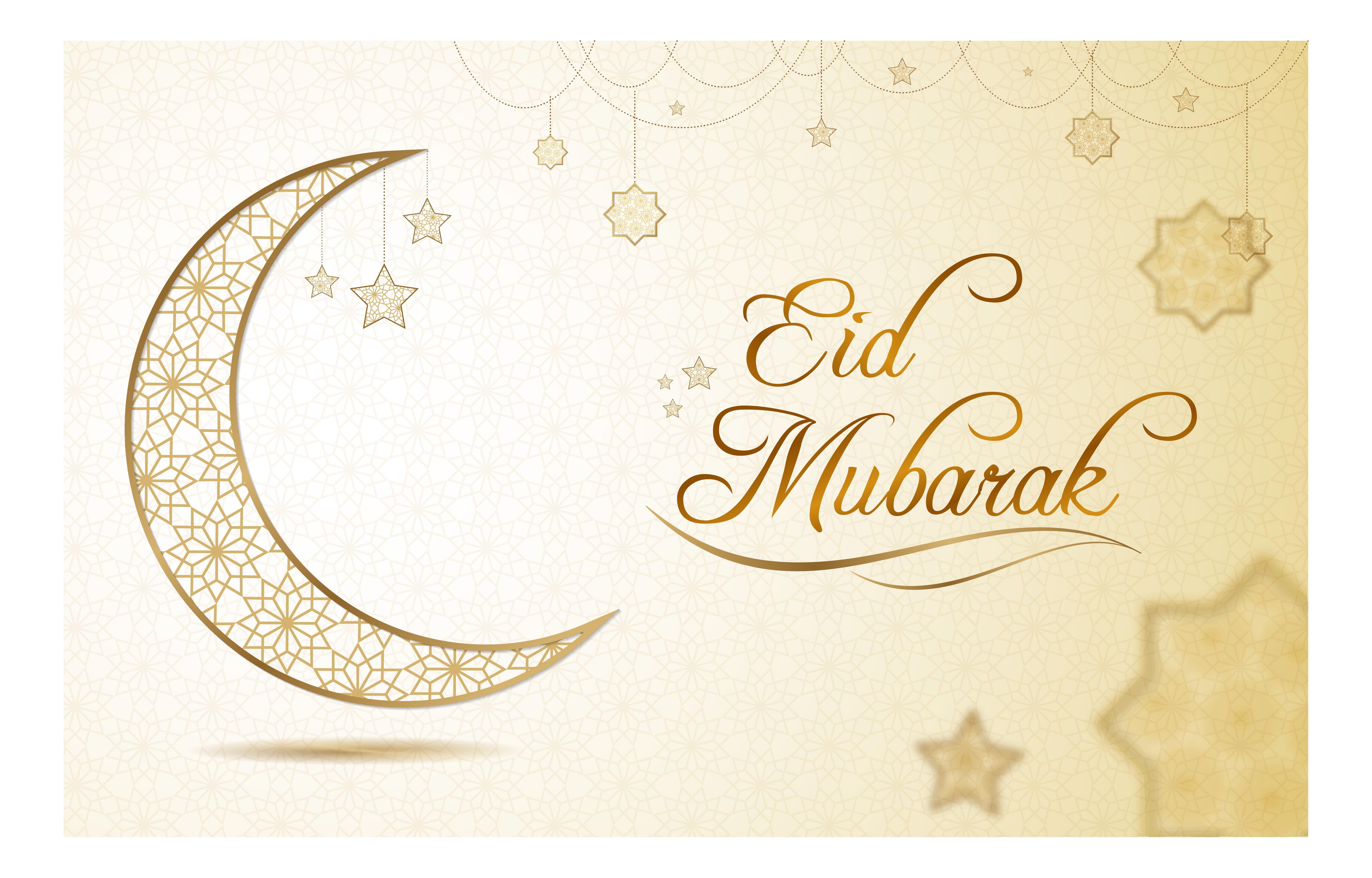 Eid Mubarak Greeting With Gold Star Pattern 1057422 Vector Art At Vecteezy
