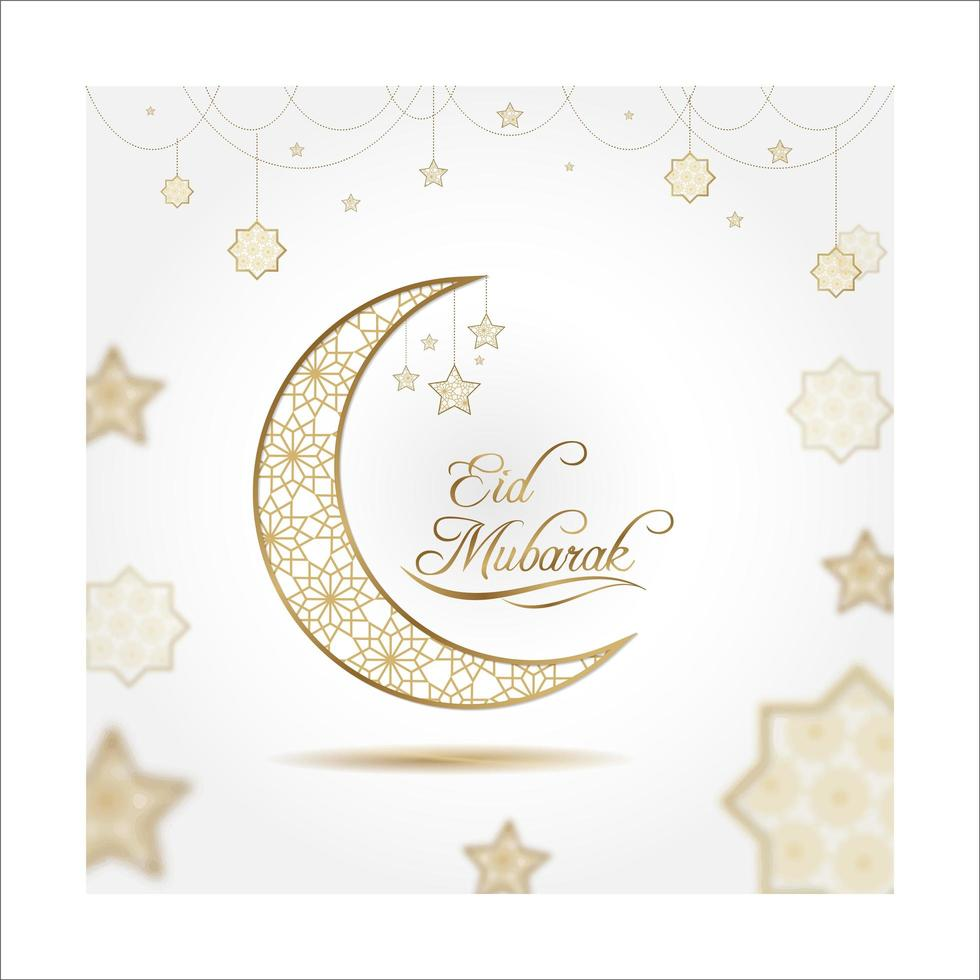 Eid Mubarak Card in White and Gold vector