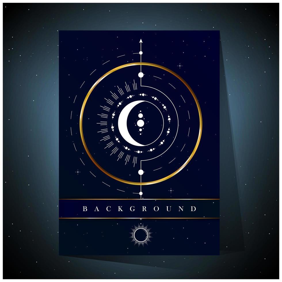 Fondo de diseño de círculo dorado y luna blanca vector