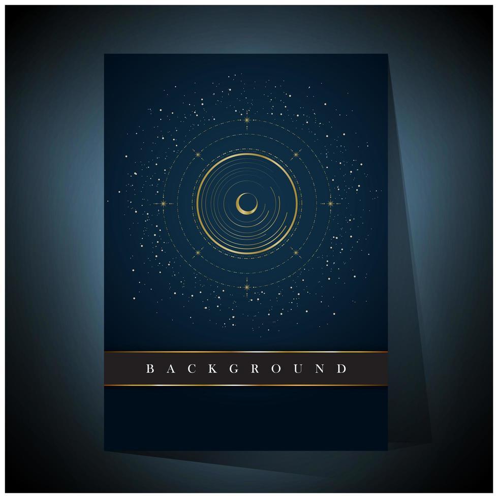 círculo concêntrico dourado e fundo do espaço da lua vetor