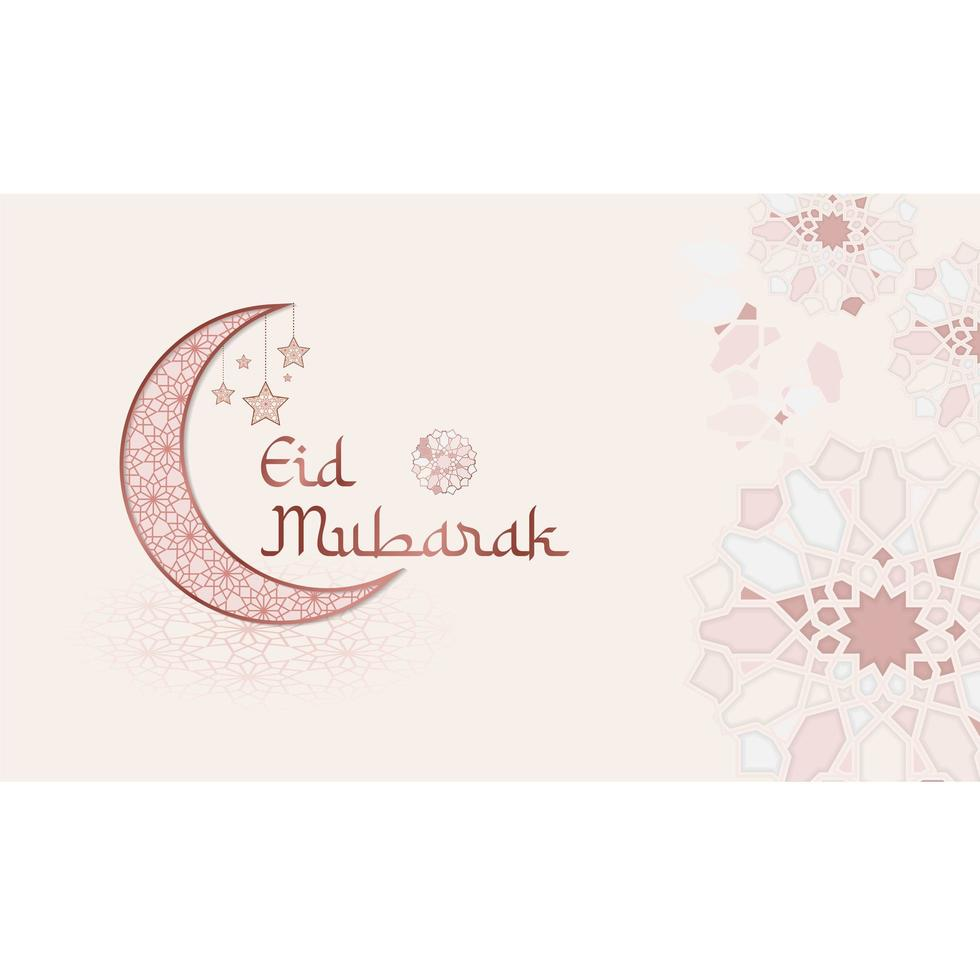banner de eid mubarak com formas abstratas de estrelas vetor