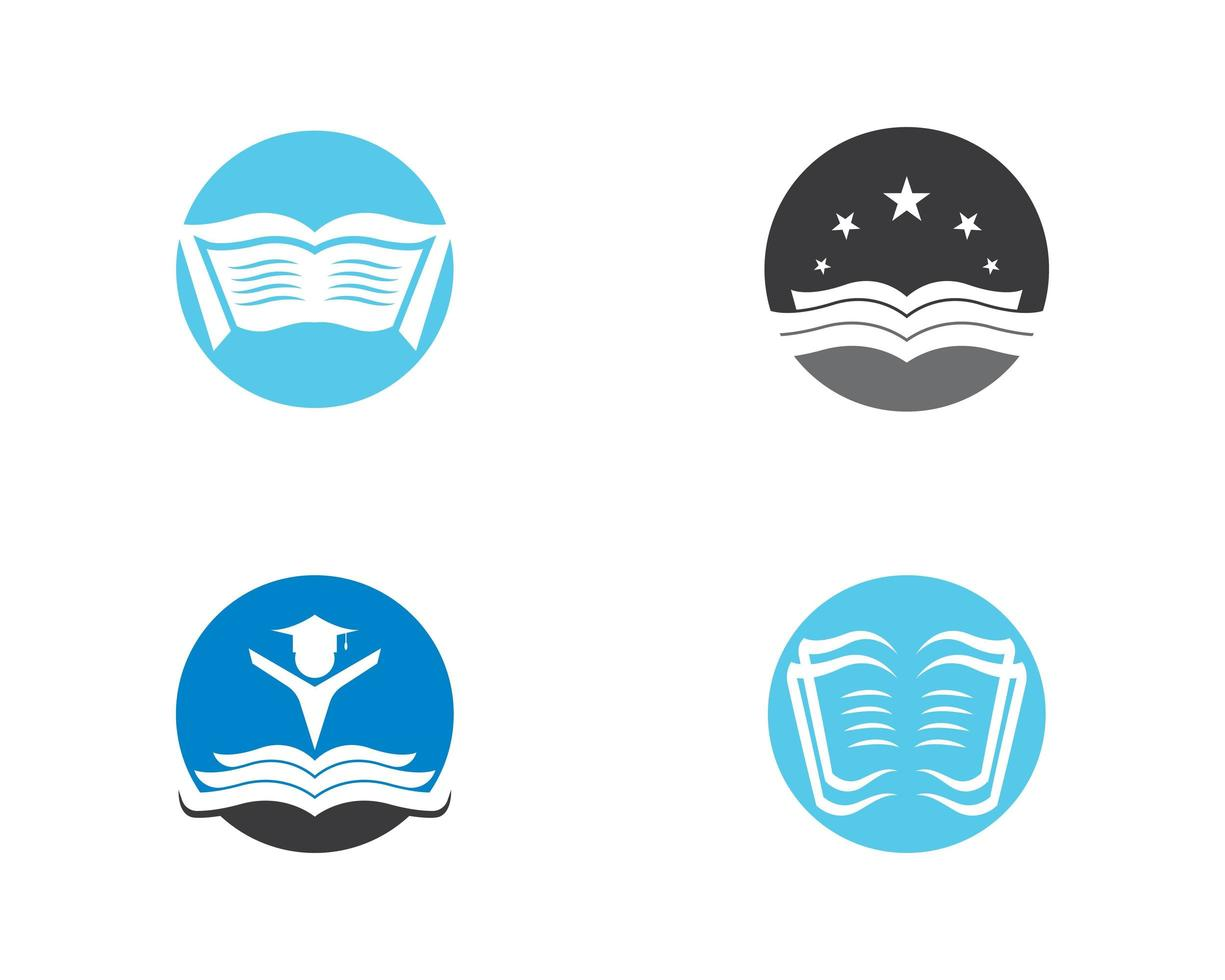 libros en círculos logo icon set vector