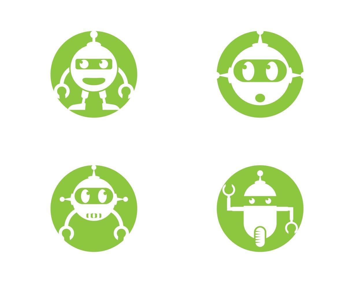 conjunto de logotipo do robô vetor