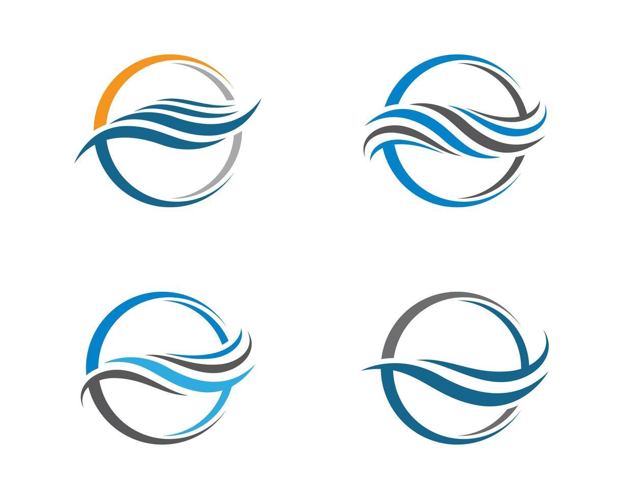 conjunto de logotipo de onda de agua redonda vector