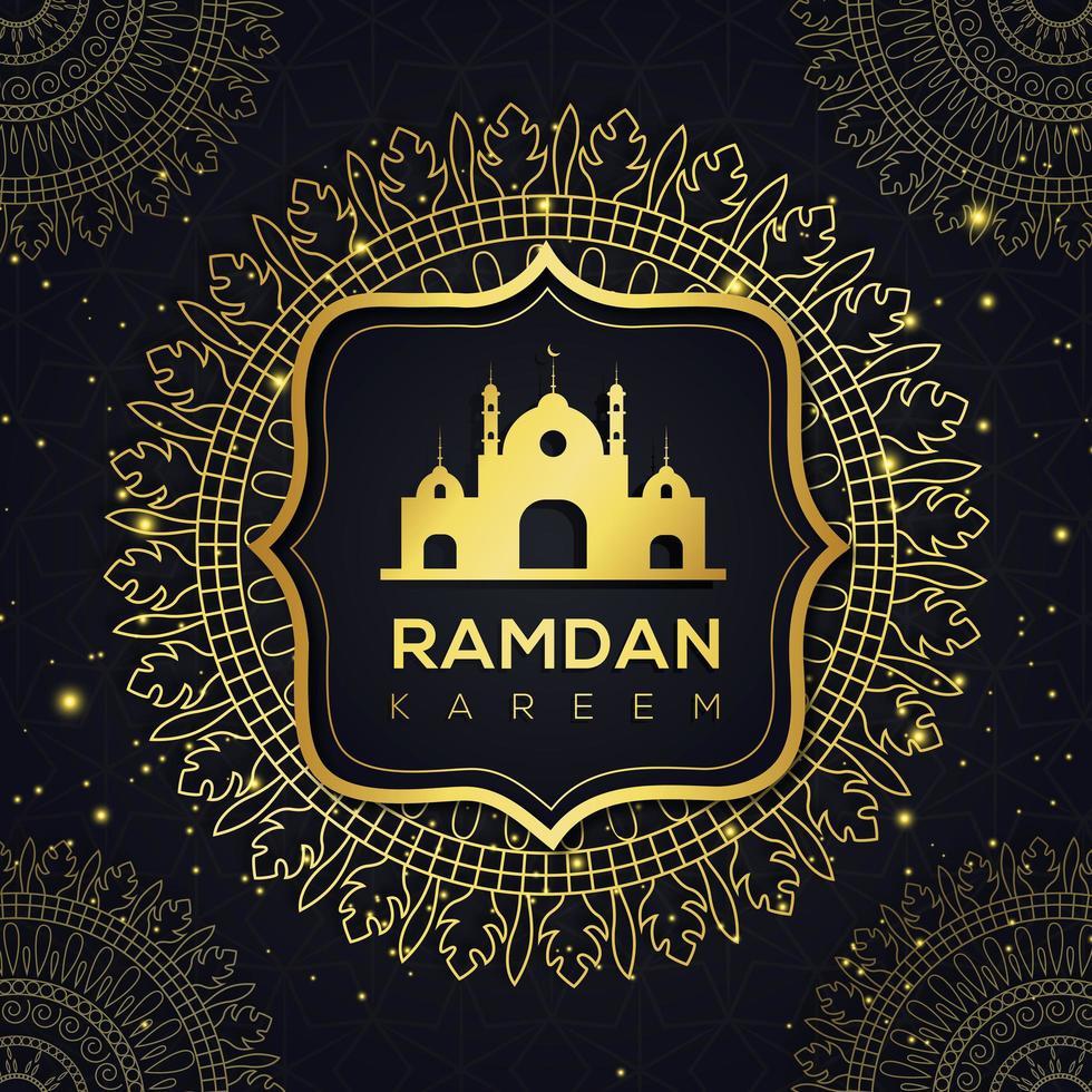 mandala d'oro e moschea ramadan design islamico vettore