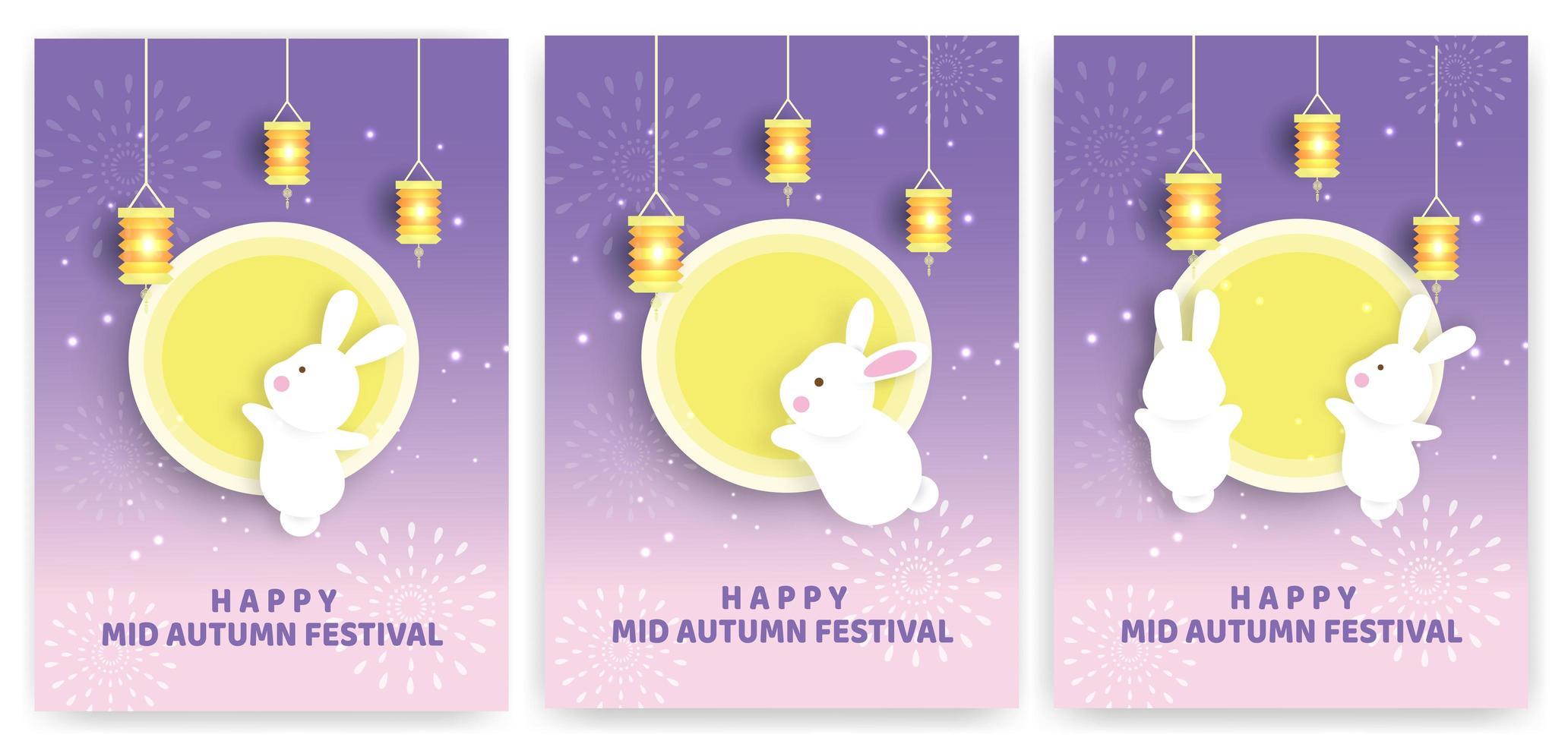 cartão festival de outono com coelhos e lua vetor