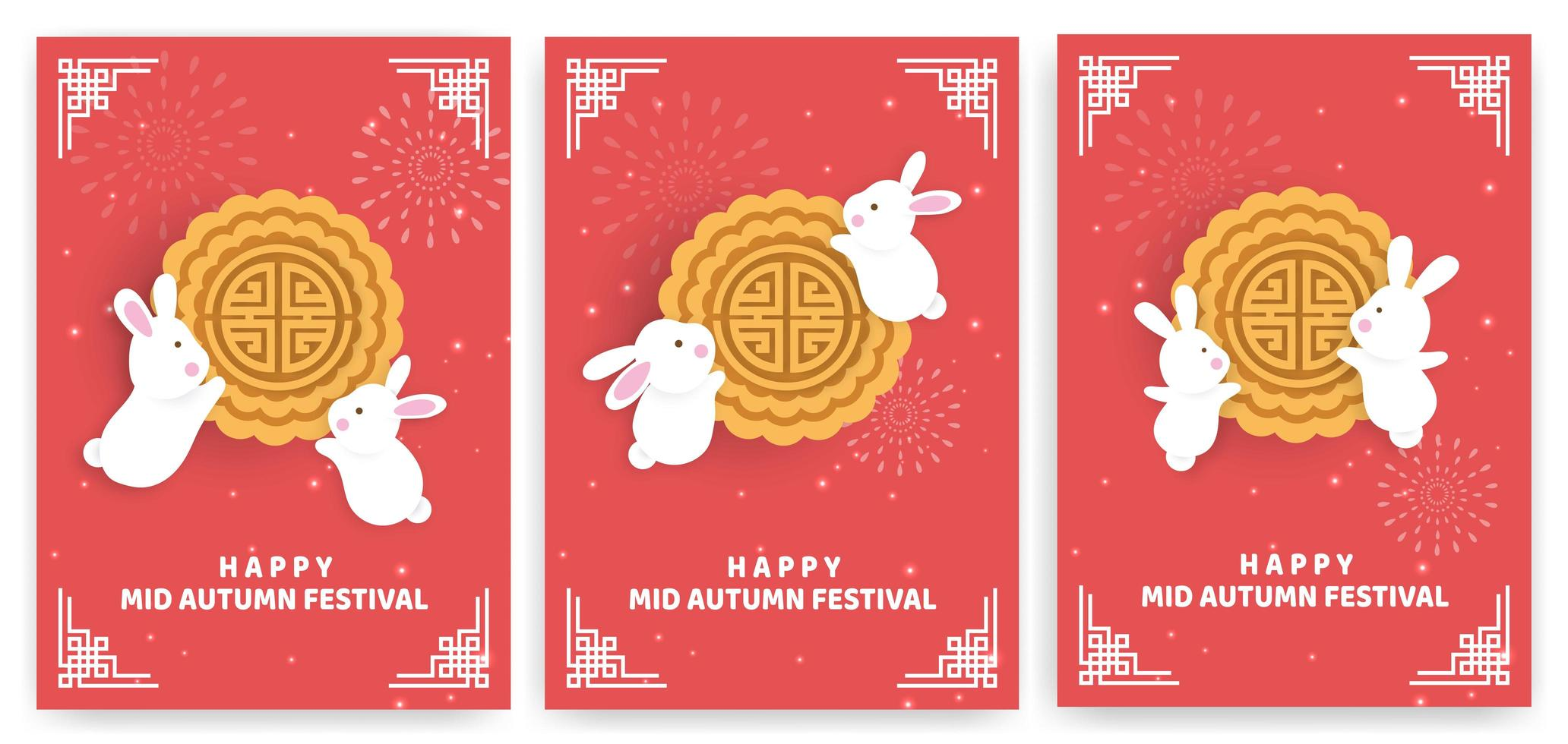 Autumn festival card set with rabbits on red vector