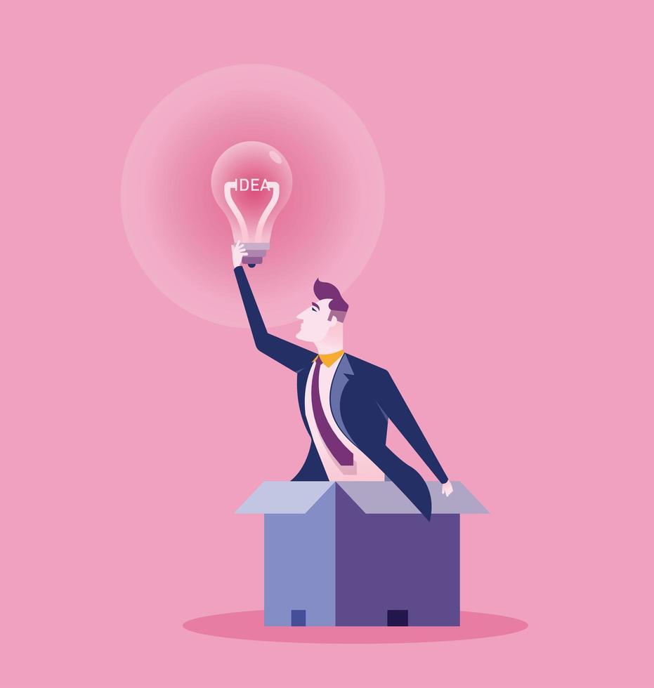 homem de negócios em caixa alcançando lâmpada vetor