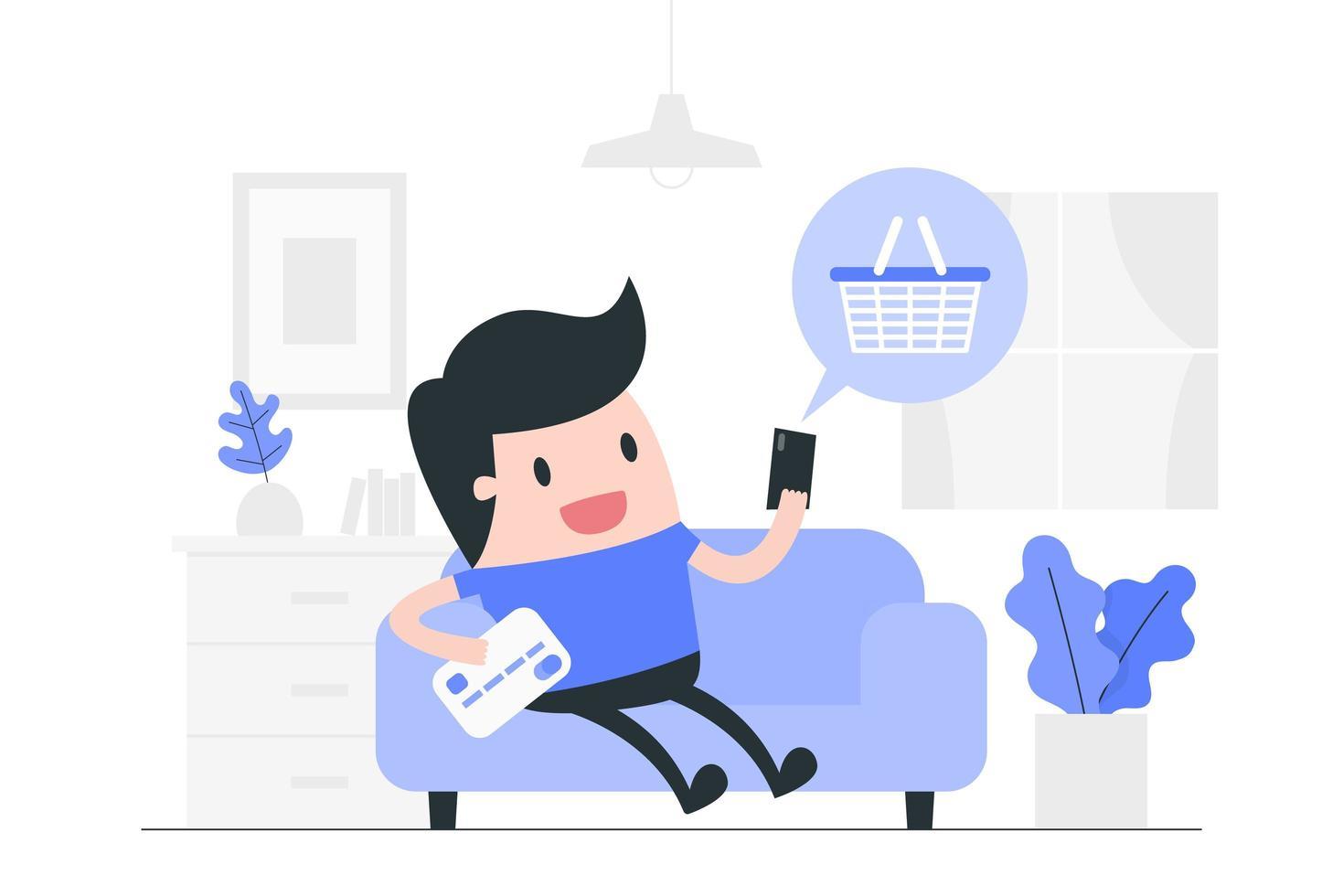 conceito de compras online vetor