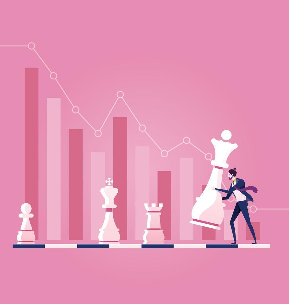 Hombre de negocios en movimiento pieza chesse con fondo gráfico vector