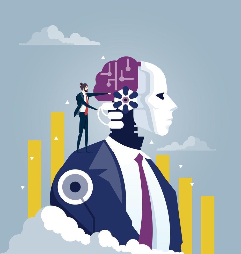 Business man standing robot shoulder vector