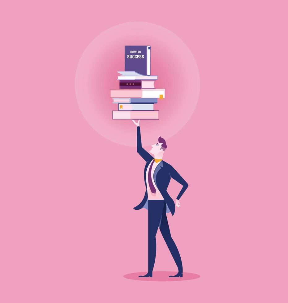 Business man holding pile of books above head vector
