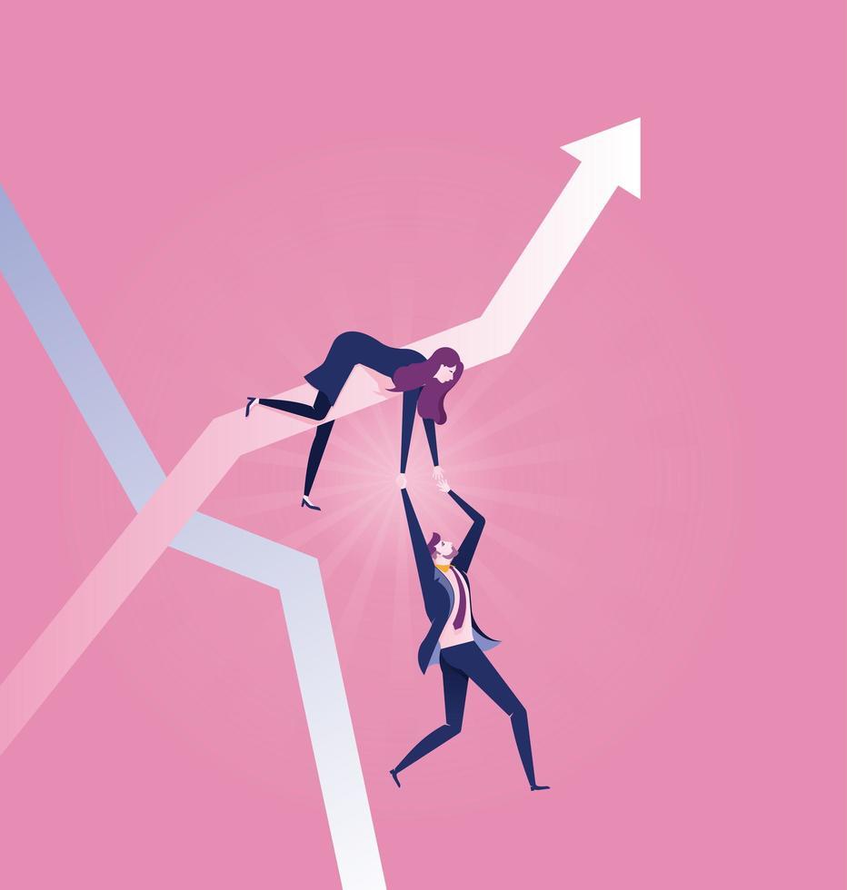 mujer de negocios en flecha ascendente tirando de hombre de negocios vector
