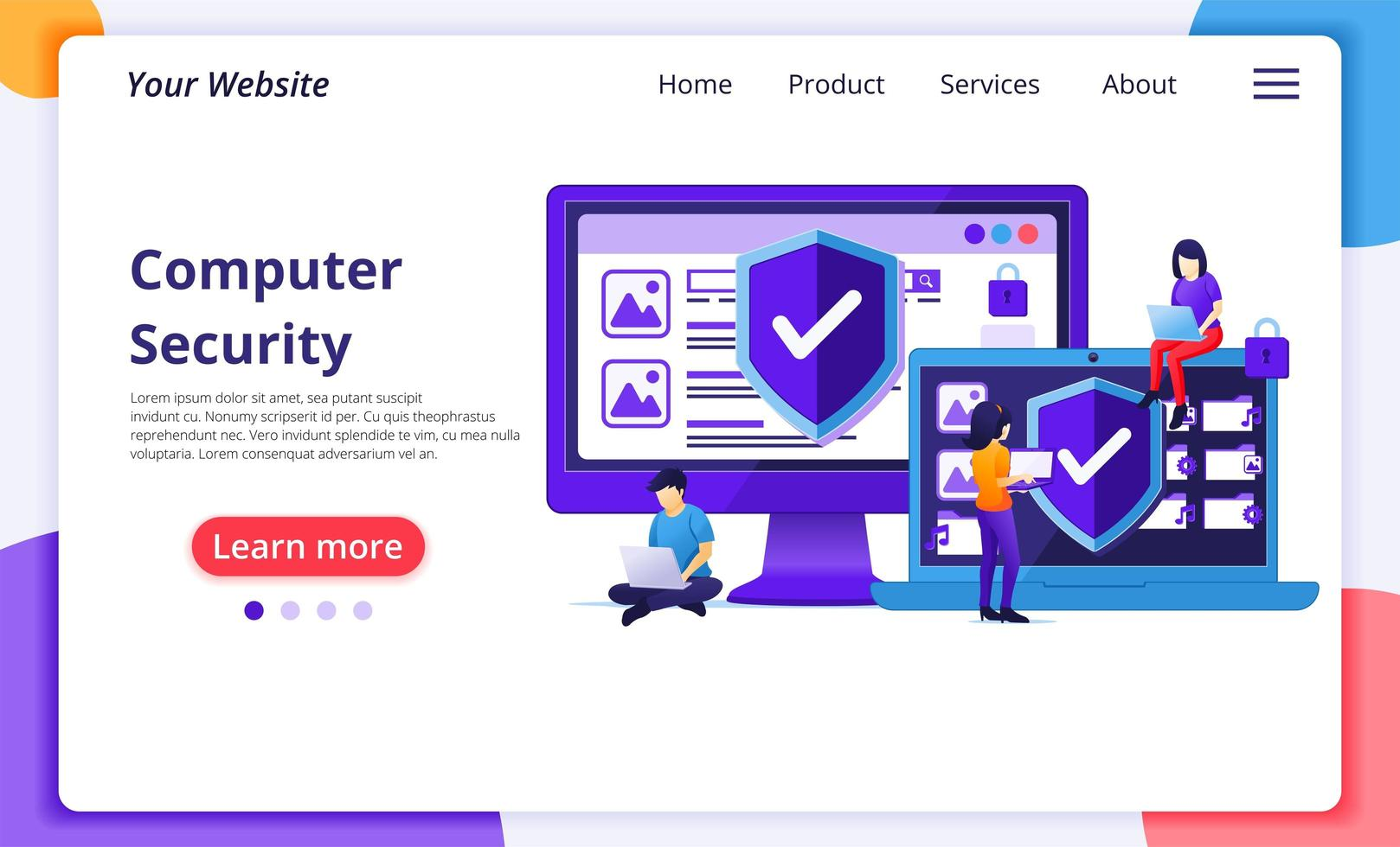 Cyber security concept landing page vector