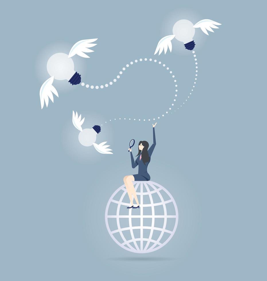 mujer en globo buscando ideas vector