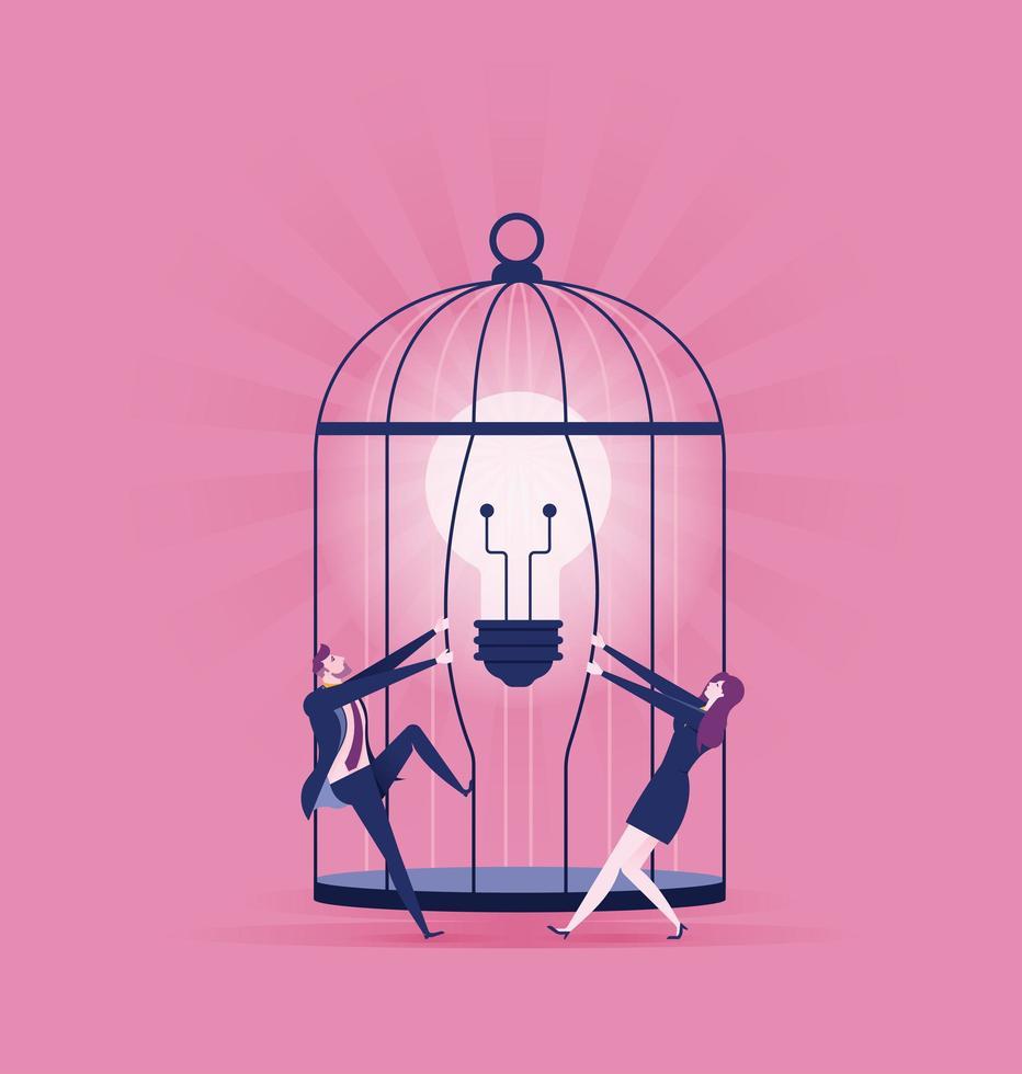hombre y mujer rompiendo la bombilla de la jaula vector