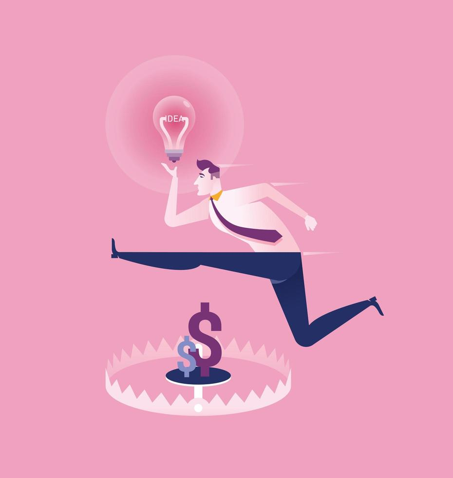 Business man with idea jumping over money trap vector
