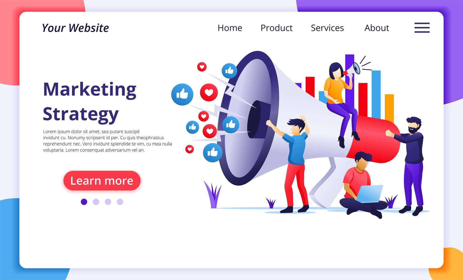 Marketing strategy campaign concept flat style vector