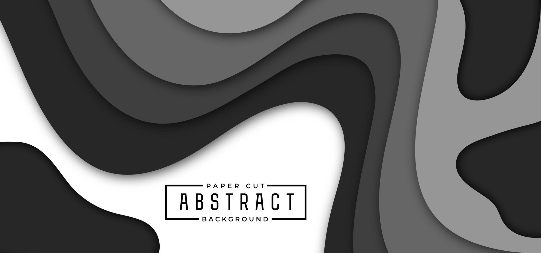 banner horizontal de estilo de corte de papel negro y gris vector