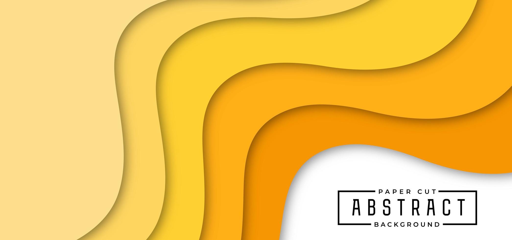 banner horizontal en forma de onda amarilla en capas vector