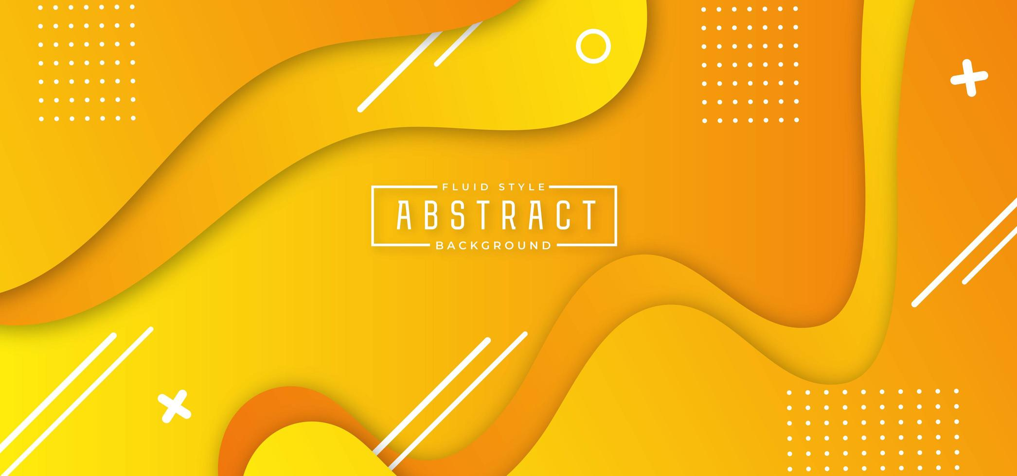 Yellow Layered Flowing Shape Horizontal Banner vector