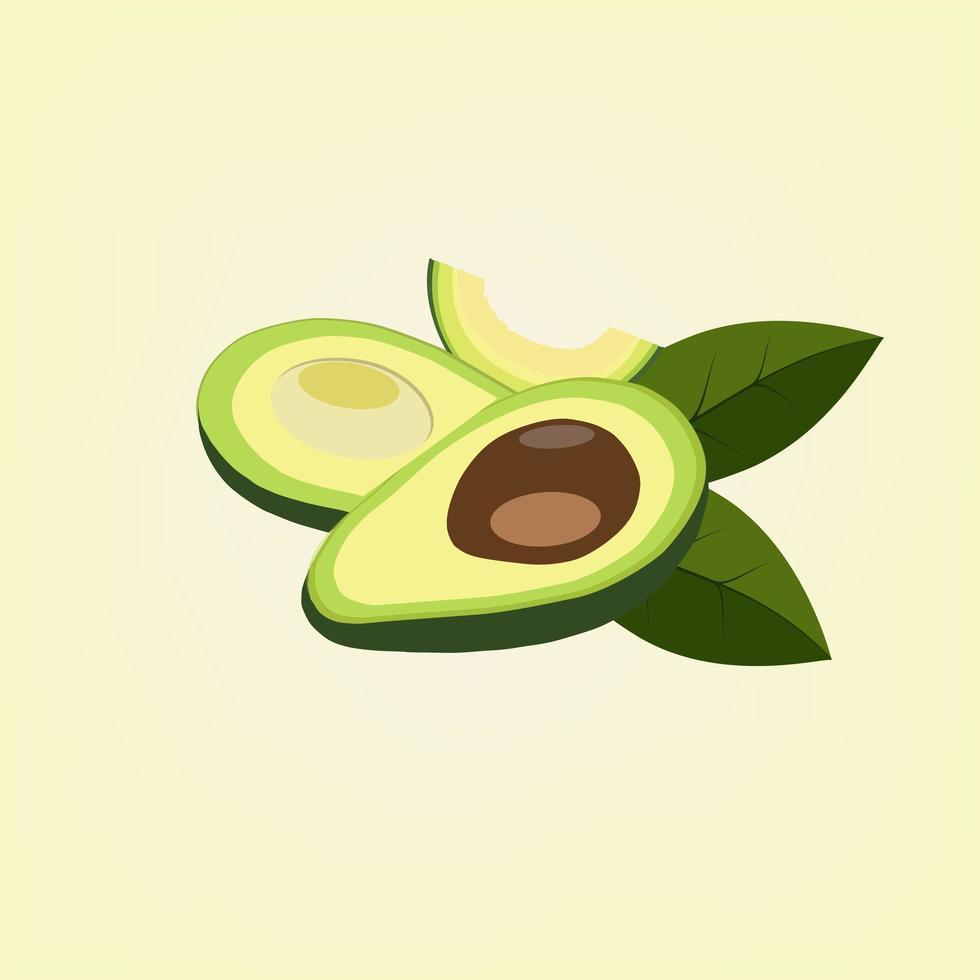 abacate fresco cortado vetor