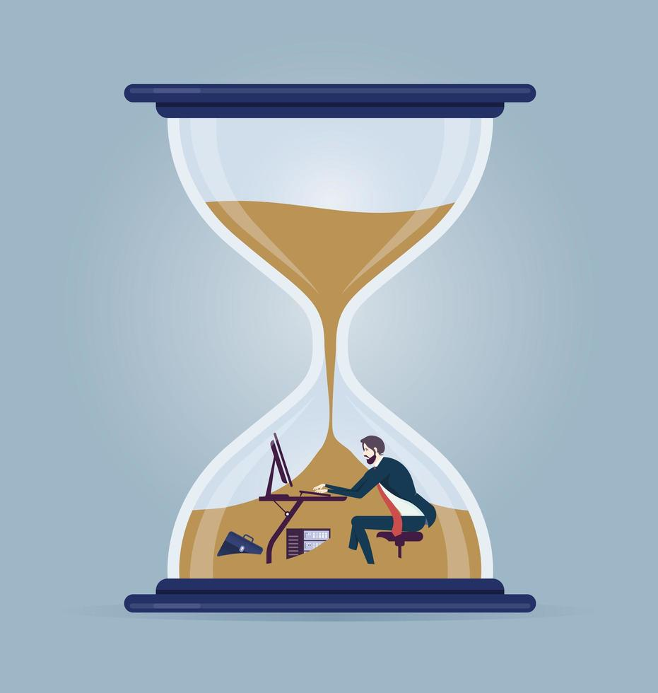 Businessman working inside a hourglass  vector