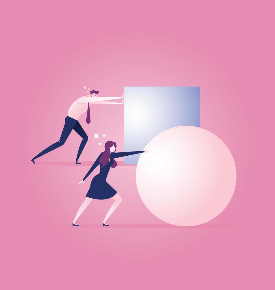 empresária, rolando uma bola, liderando a corrida vetor