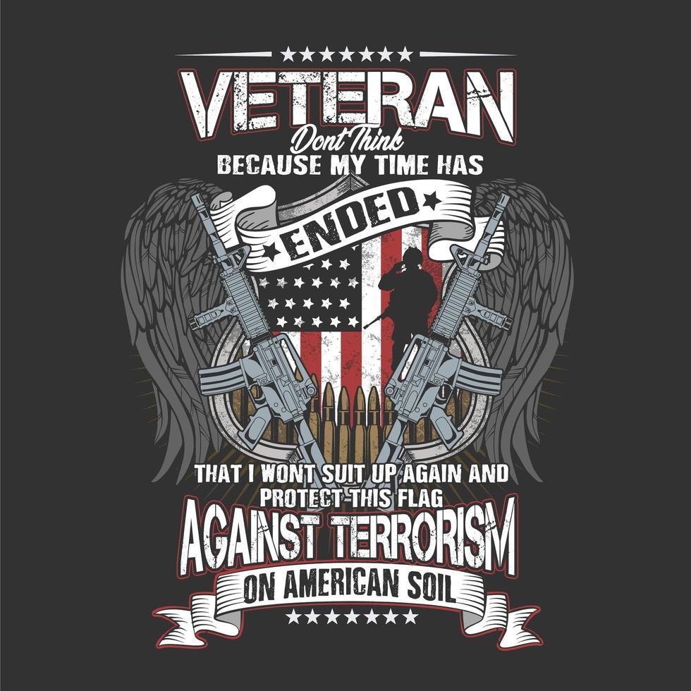 Alas de veterano americano y diseño de pistola vector