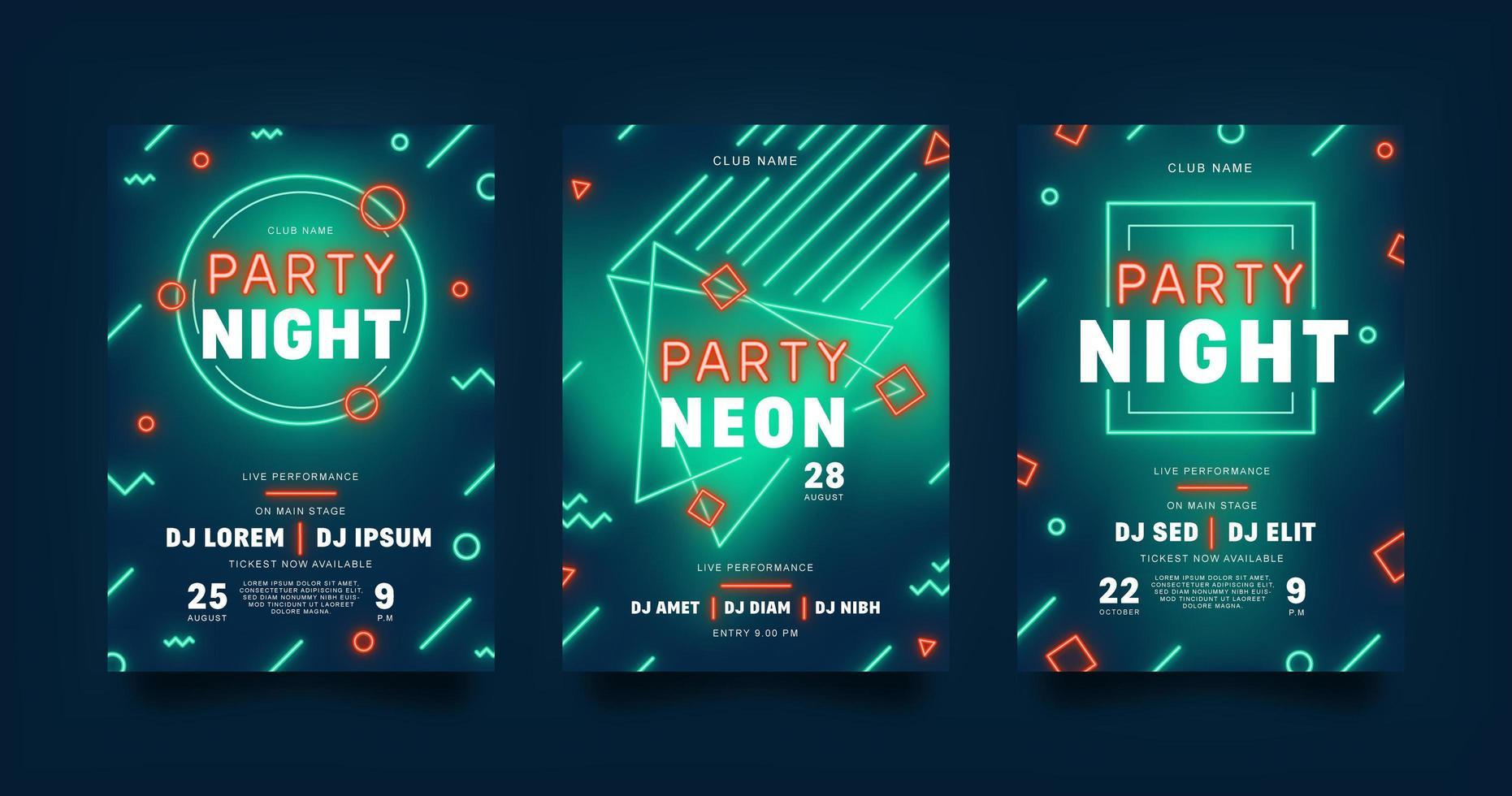 folleto de fiesta de neón vector