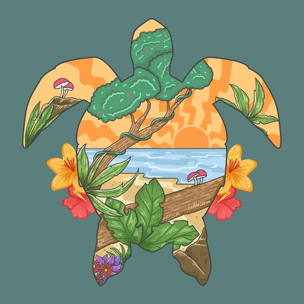 Tropical Turtle Shaped Beach Design  vector