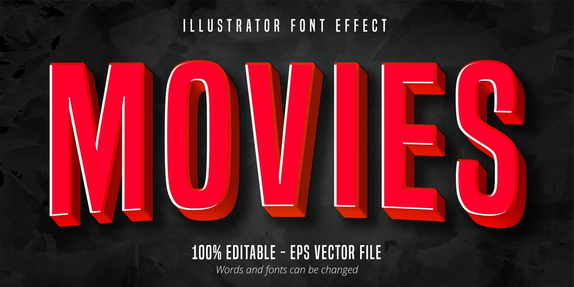 texto de películas, efecto de fuente editable estilo película roja 3d vector