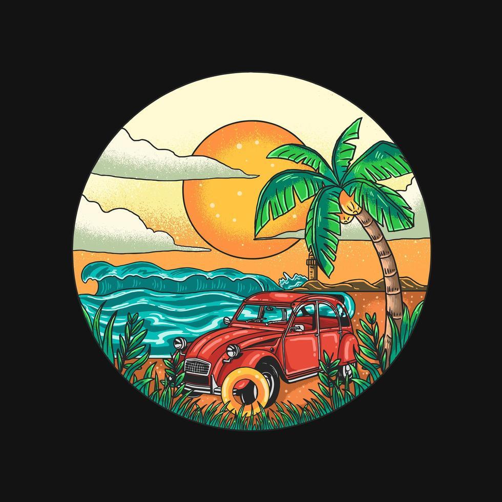 vacaciones en la playa tropical con diseño de automóviles vector