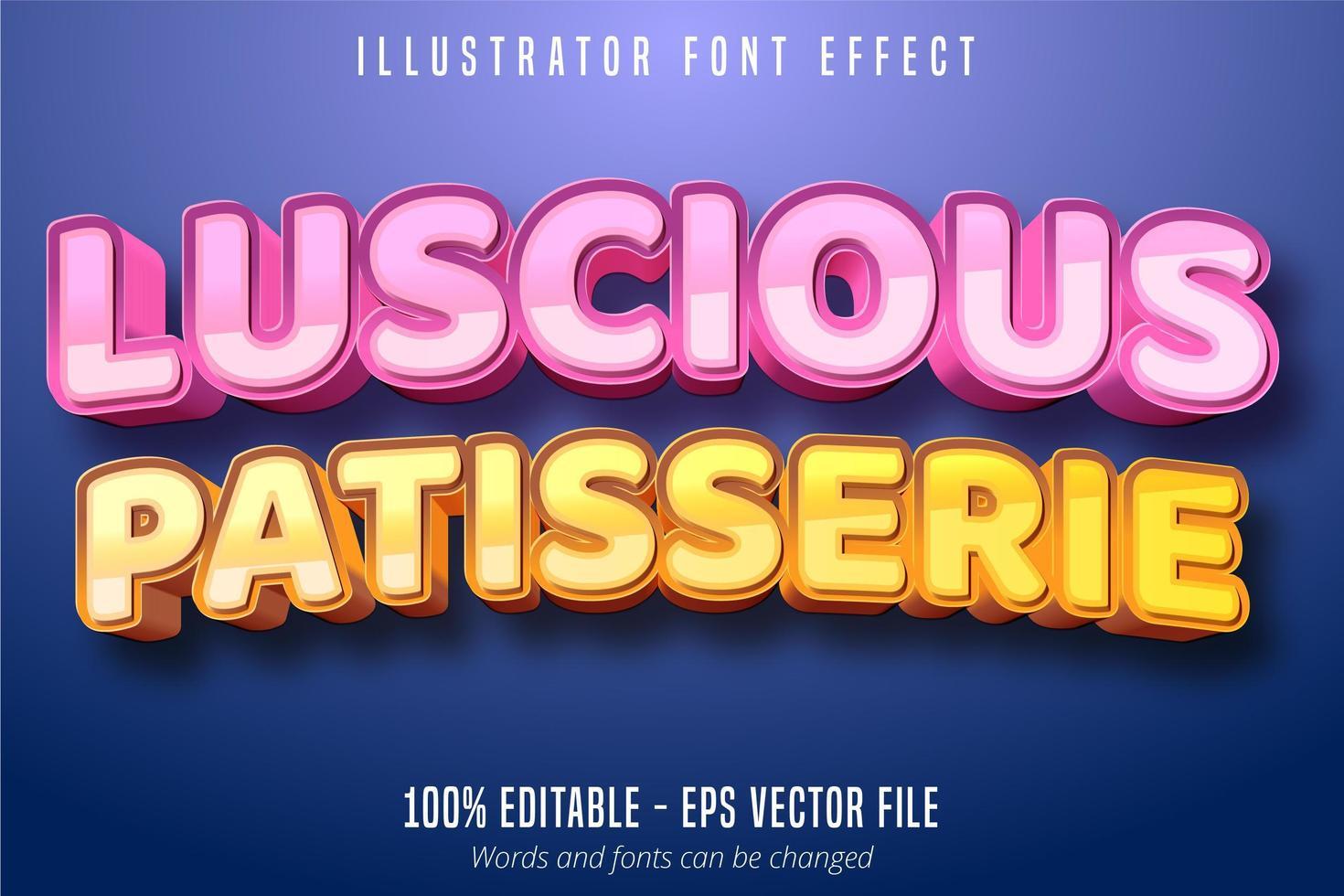 delizioso testo di pasticceria, effetto font modificabile in stile pasticceria 3d vettore