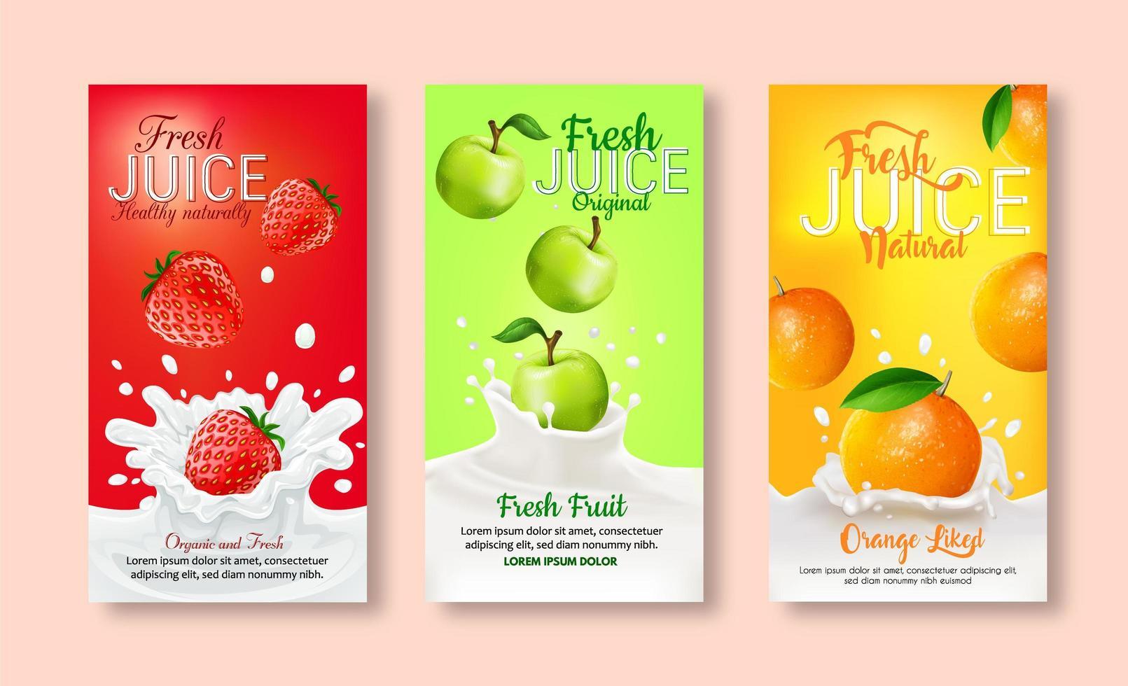 conjunto de etiquetas para suco de frutas. vetor