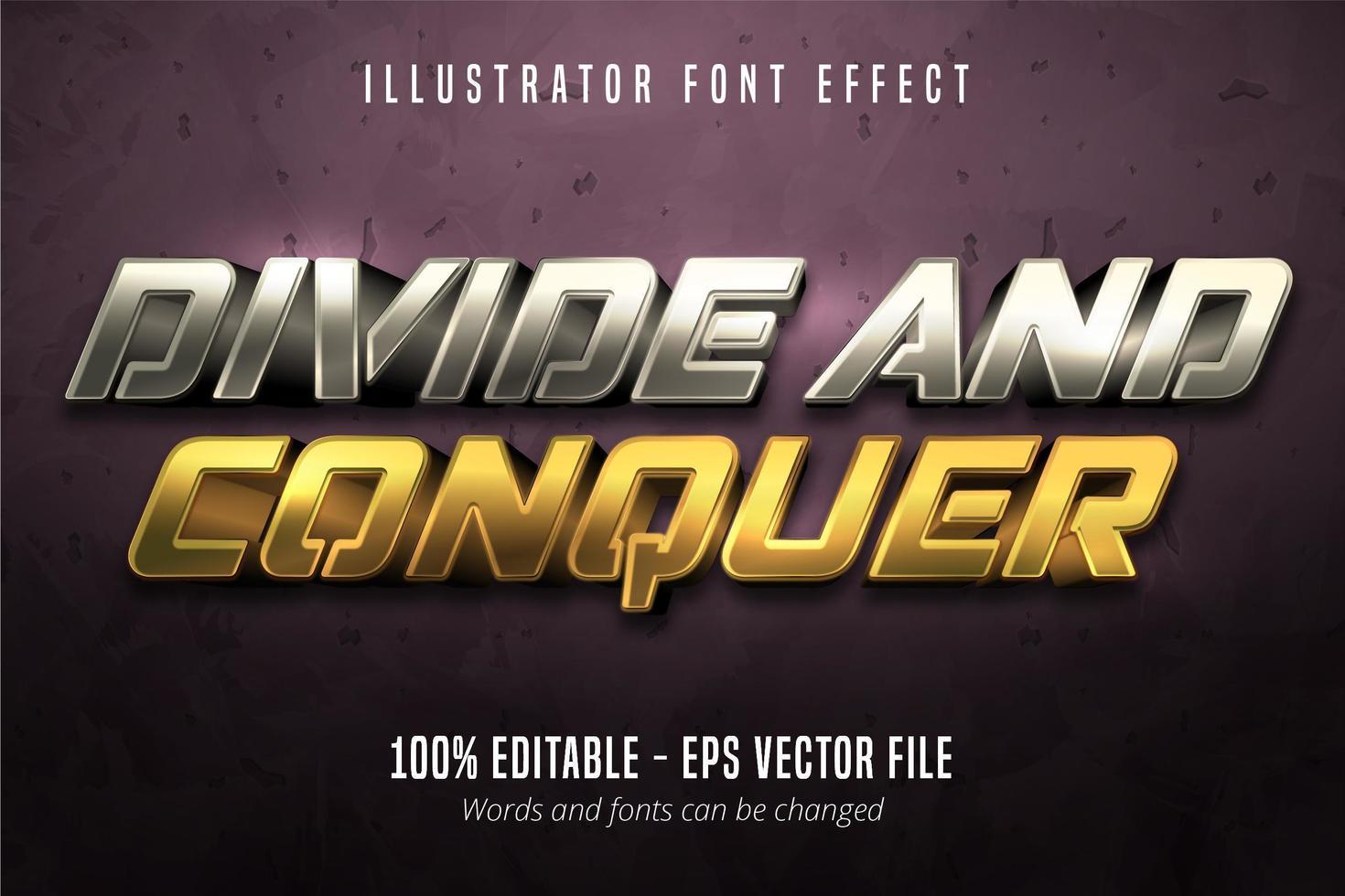 dela och erövra text, redigerbar typsnittseffekt för guld och silver i metallisk stil vektor