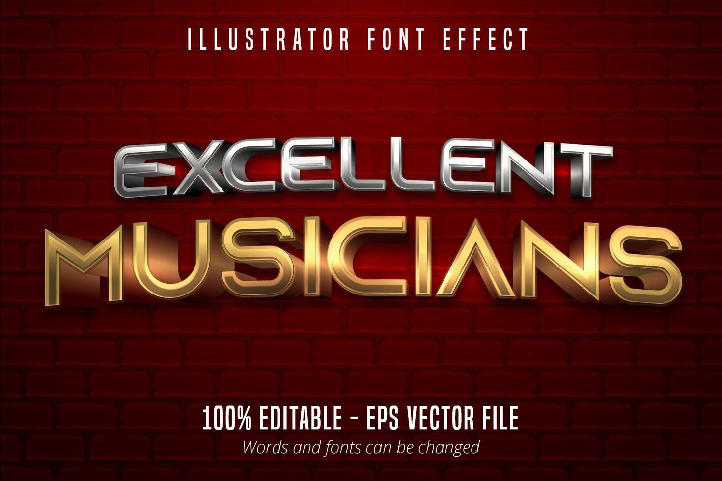 excelente texto de músicos, efecto de fuente editable de estilo metálico dorado y plateado 3d vector