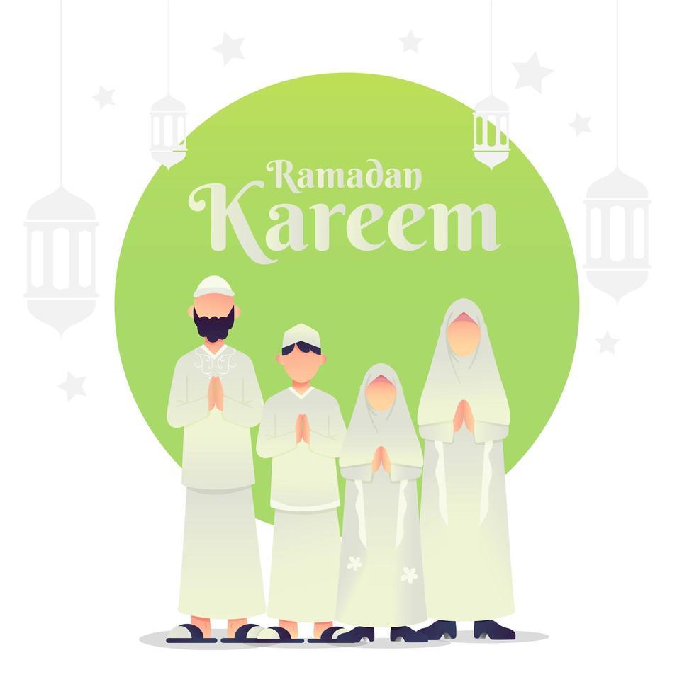 cumprimentos da família muçulmana para ramadan kareem vetor