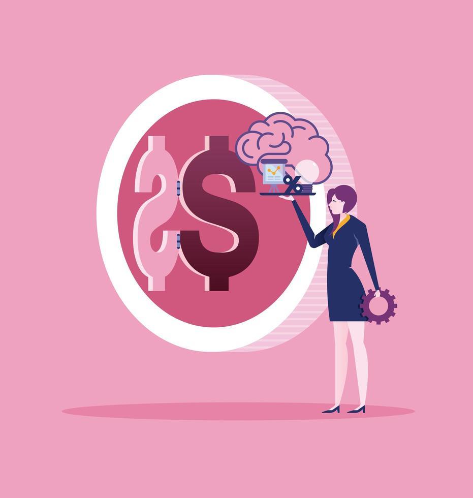Businesswoman create idea for make money create idea  vector
