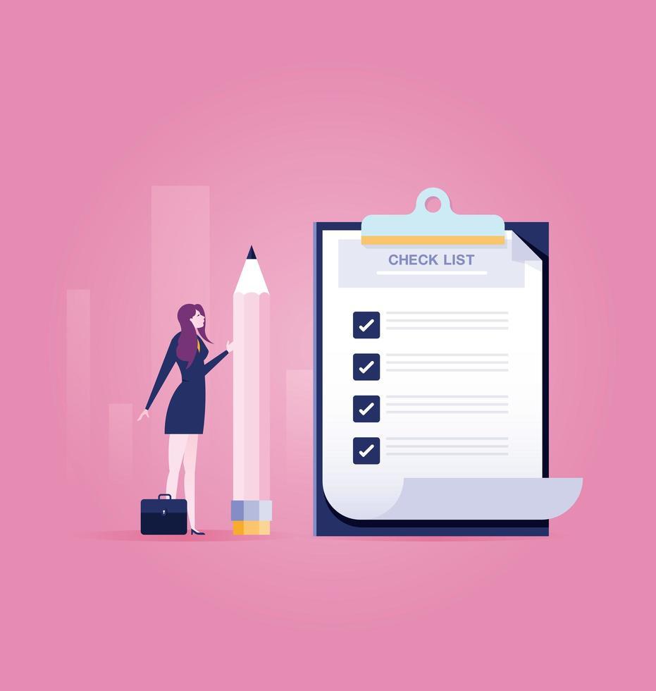 empresária, segurando um lápis perto de lista de verificação concluída na área de transferência vetor
