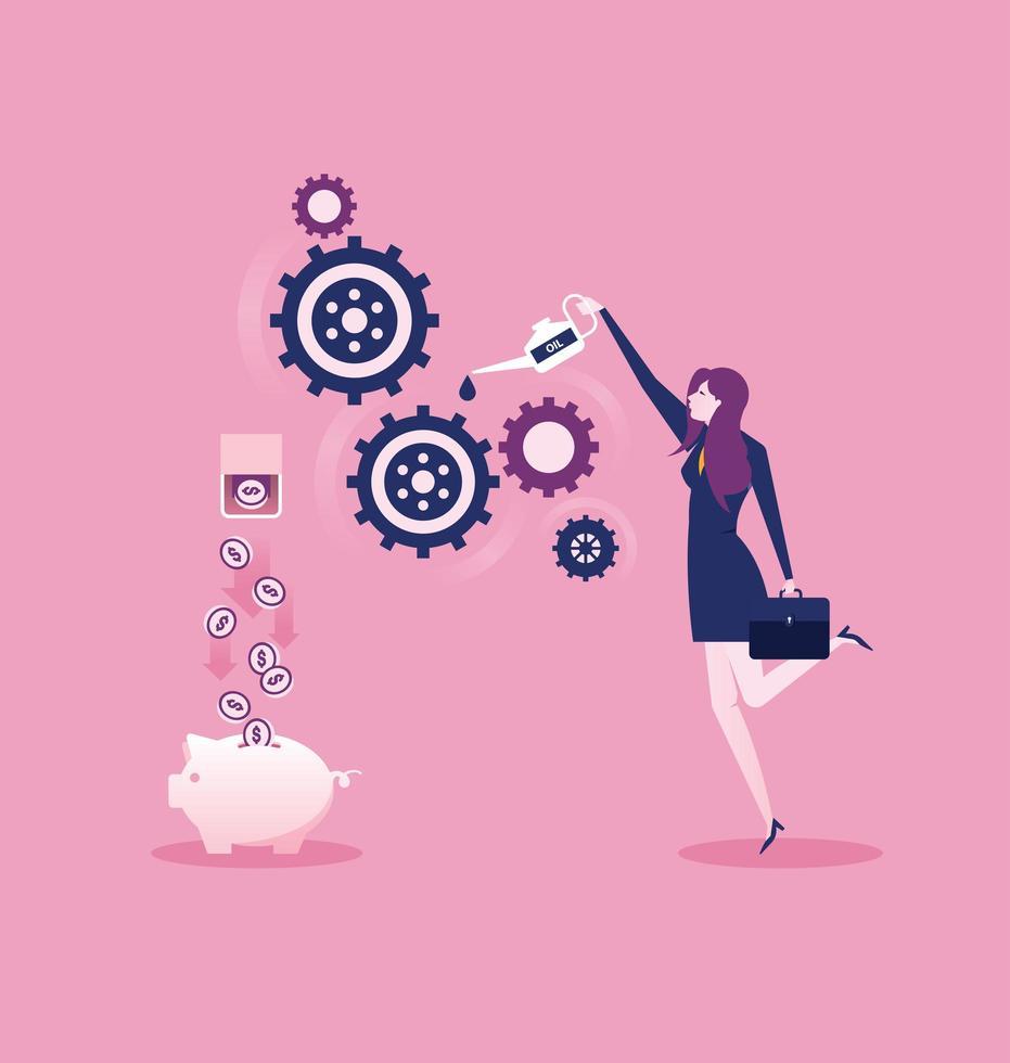zakenvrouw implementeert een business idee concept roze achtergrond vector