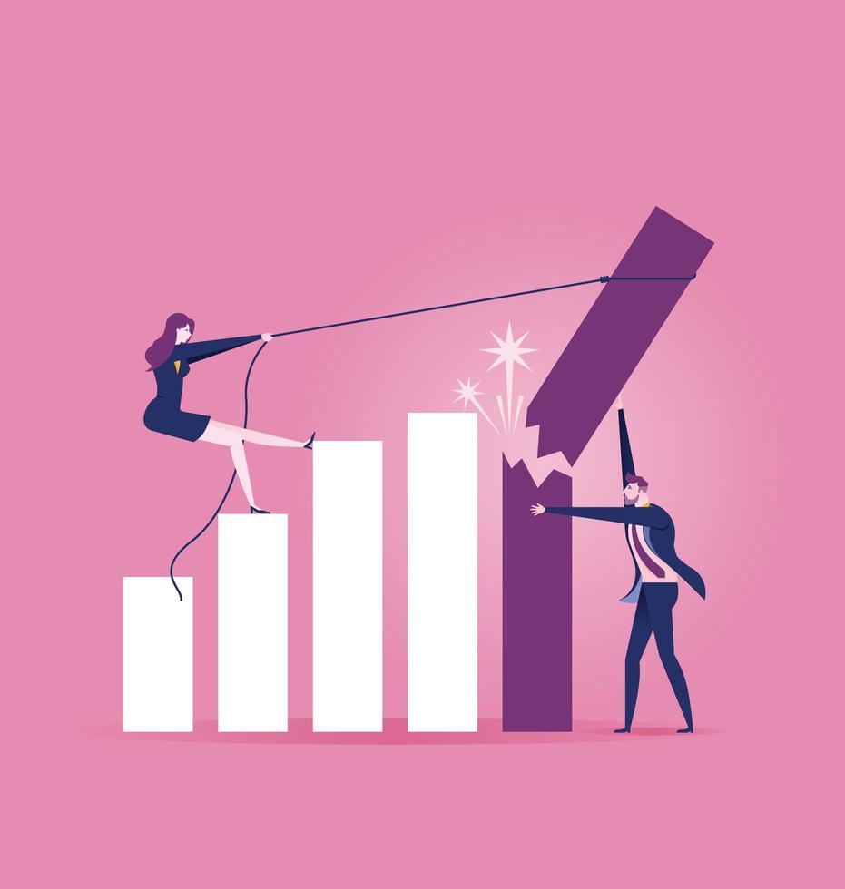 empresário tentando segurar a quebra e caindo a taxa de crescimento vetor