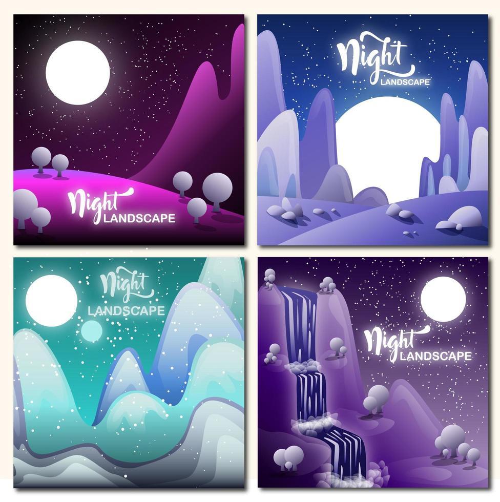 conjunto de paisagens noturnas vetor
