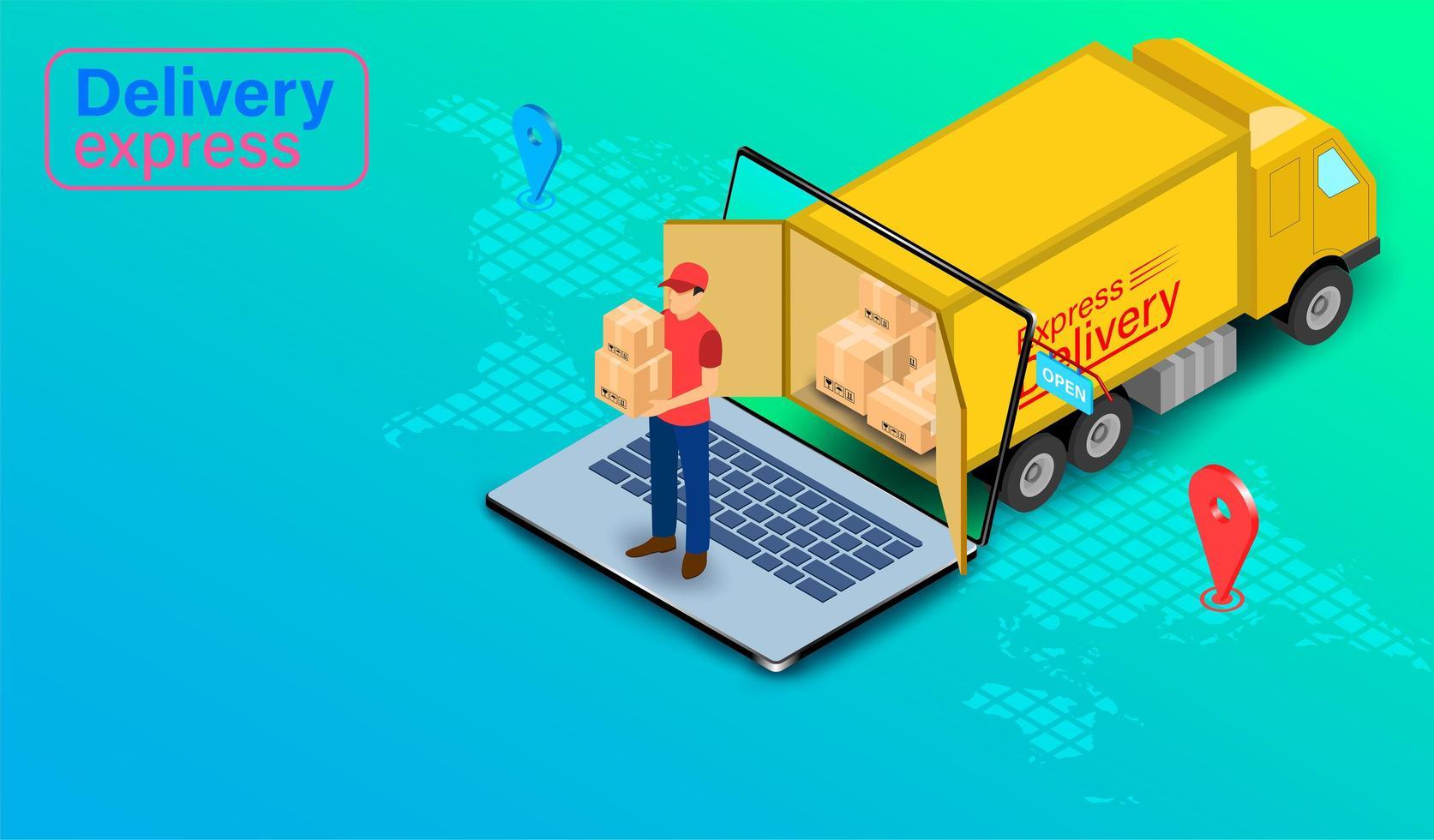 entrega urgente por persona de paquetería con camión vector