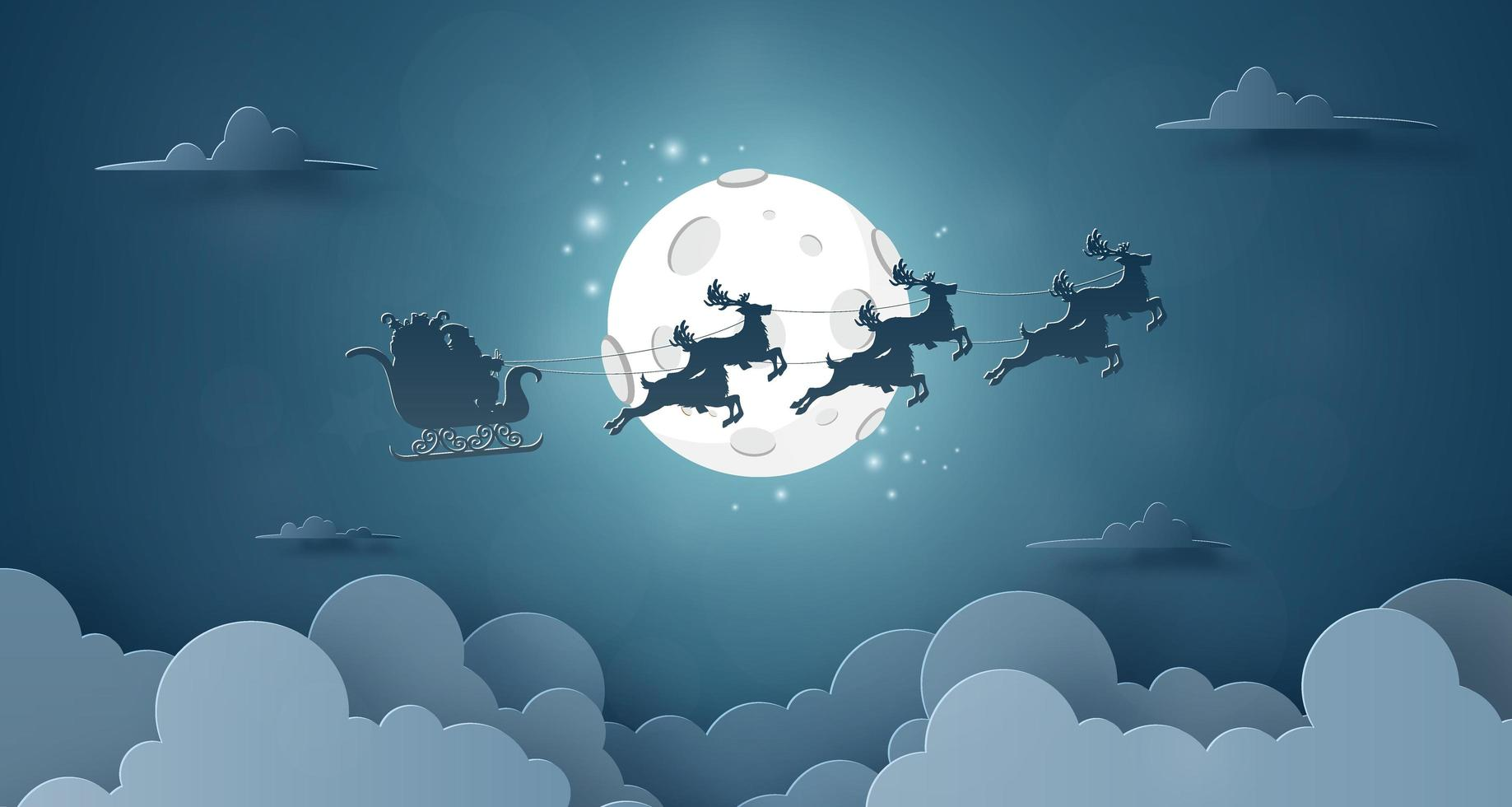 Santa Claus and reindeer flying on the sky with full moon night sky background vector